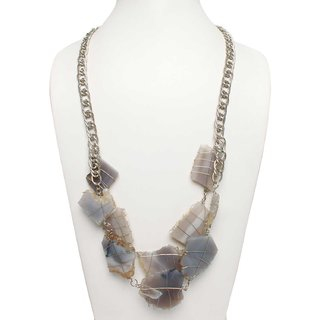 Agate Stone and Alloy Metal Necklace Grey Necklace