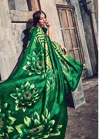 Swaron Green Silk Floral Saree With Blouse