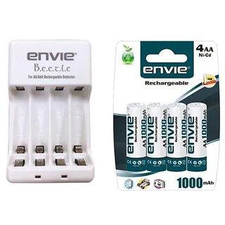 Branded Combo of Envie AA/AAA Beetle Charger with Envie 4xAA Ni-Cd 1000 Mah Batteries
