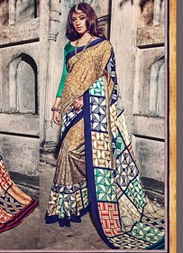 Swaron Multicolor Silk Block Print Saree With Blouse