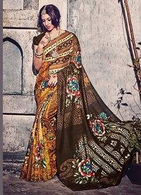 Swaron Brown Silk Floral Saree With Blouse