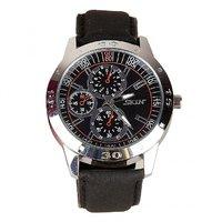 Skin Round Dial Black Leather Strap Mens Quartz Watch