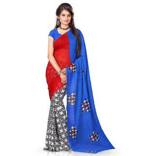 Sassily Blue  Red Fashion Georgette Printed Saree