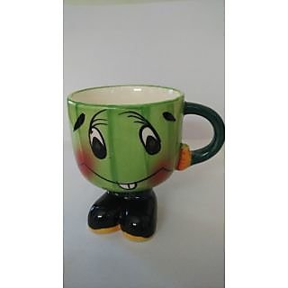 Adorable Milk/coffee Ceramic Mug with cute smile and wearing shoes