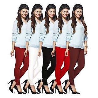 Lux Lyra Multicolored Pack of 5 Cotton Leggings LyraIC02101112135PC