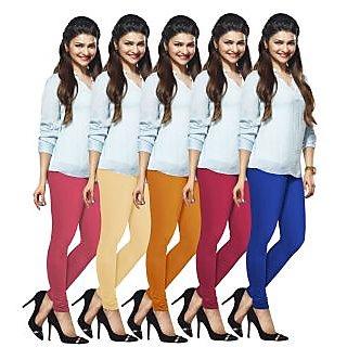 Lux Lyra Multicolored Pack of 5 Cotton Leggings LyraIC14182133495PC