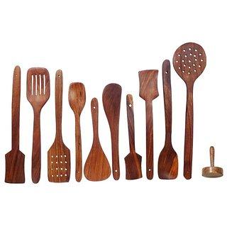 Wooden kitchen essential tools set of 11