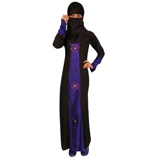 Hawai Lycra Purple Floral Flow Burqa