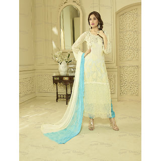 Thankar Off White And Sky Chiffon Straight Suit