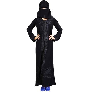 Hawai Embroidery Work Black Burqa