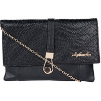 My Mini Mee 7077 Synthetic Leather Clutches Bag(Black C