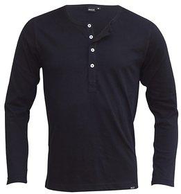 Rigo Black Slim Fit Henley TShirt full sleeves material cotton