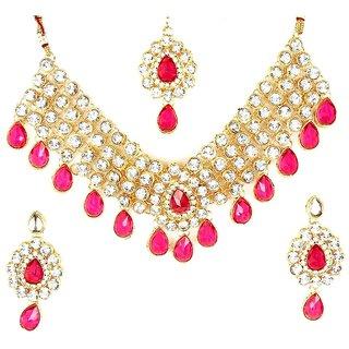 Wedding 4 line Dark Pink Stone Necklace Set