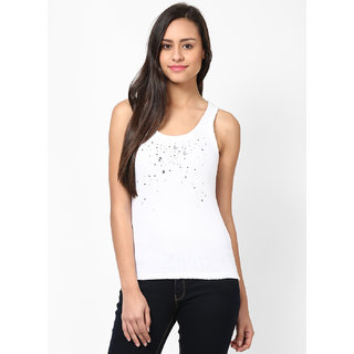 cc23eef94f66d3 Buy GRAIN Regular Fit Cotton White Color Round Neck Sequence Top For Women  Online - Get 70% Off
