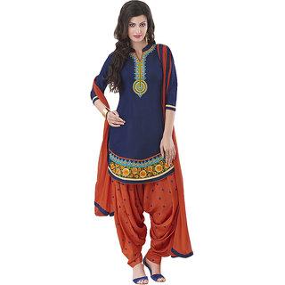 Lords Blue Satin Cotton Unstitched  Patiala Salwar Suit