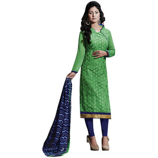Parisha Green Chanderi Embroidered Kurta & Churidar Dress Material