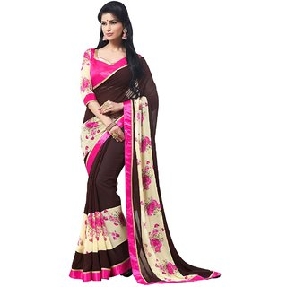 Aagaman Brown Georgette Printed Saree With Blouse