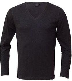 Rigo Black Slub Slim V Neck TShirt full sleeves