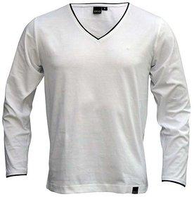 Rigo White V Neck TShirt white in color full sleeves