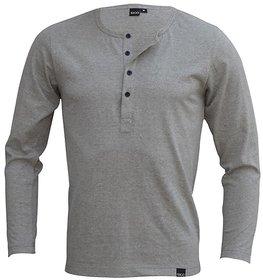 Rigo Grey Melange Slim Fit Henley TShirt material cotton