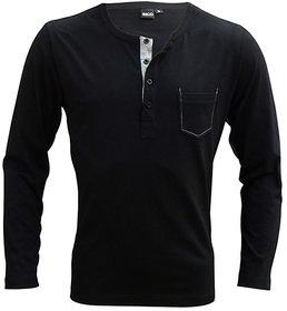 Rigo Black Full Sleeves Men TShirt material cotton