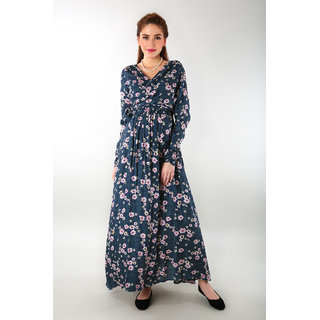 Momzjoy Womens Floral Rich Print Front Wrap Maternity Dress