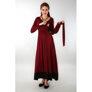 Momzjoy Womens Elegant Wine Front Wrap Maternity Dress