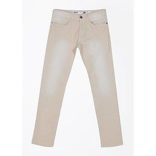 Morro Men's Cotton Elastane Slim Fit Cream Jeans
