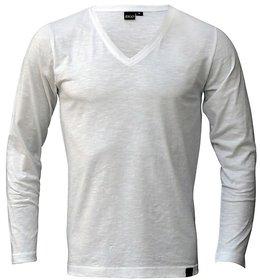Rigo White Slub Slim V Neck TShirt white in color