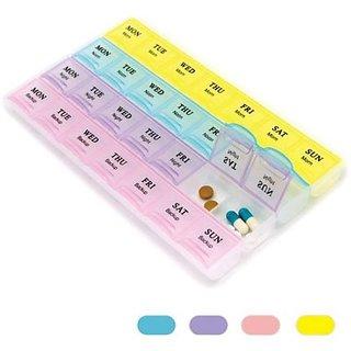 Tablet box 7 Day Weekly Planner Pill Box Medicine Tablet 28 Case Storage Organizer 7 x 4