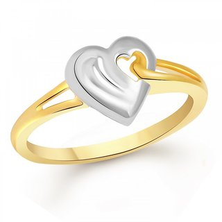 Vighnaharta Marvellous Heart Plain Gold and Rhodium Plated Ring - VFJ1086FRG