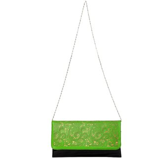 Just Women Apple Green Cutwork Envelope Clutch