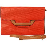 Just Women Ethnic Oversized Sunshine Orange Box Clutch