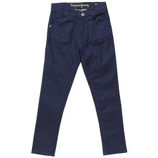 Noon Men's Solid Regular Fit Blue Jeans
