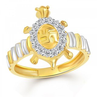 Vighnaharta Swastik Tortoise Gold and Rhodium Plated Ring - VFJ1088FRG