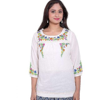 Buy Casual Embroidery Kurti In Cream Colour Online 699 From