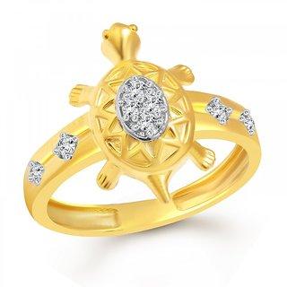 Vighnaharta Divine Turtle Gold and Rhodium Plated Ring - VFJ1090FRG