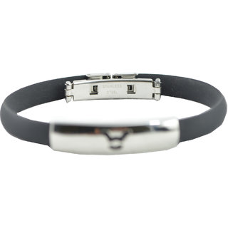 "ALPHA MAN ""TAURUS"" CHARM BRACELET IN CLASSIC BLACK WITH SURGICAL STAINLESS STEEL CENTERPIECE"
