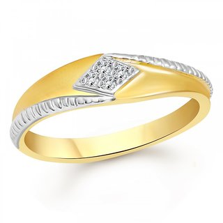 Vighnaharta Stylish Band Gold and Rhodium Plated Ring - VFJ1091FRG
