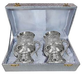 Silver Plated Set of Two Handmade Brass Mugs with a Decorative Gift Box