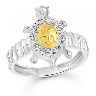 Vighnaharta Shubhra Swastik Tortoise Silver and Rhodium Plated Ring - VFJ1092FR