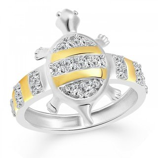 Vighnaharta White Attraction Turtle Silver and Rhodium Plated Ring - VFJ1093FRR