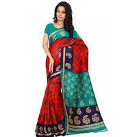 Aaina Red  Green Bhagalpuri Silk Printed Saree (FL-11107)