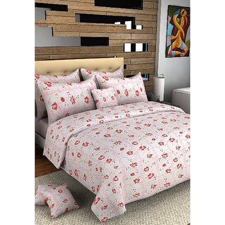 Bombay Dyeing Cotton Double Bed Bedsheet With 2 Pillow Covers red