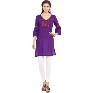 Ama Bella Purple Plain Cotton Stitched Kurti