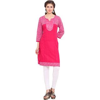 Ama Bella Pink Plain Cotton Stitched Kurti