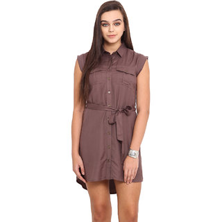 Pink Lemon Brown Plain A Line Dress For Women