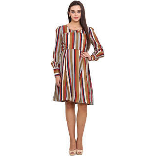 La Stella Women Multi Round Neck Casual Dress