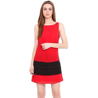 Blink Red Plain A Line Dress For Women