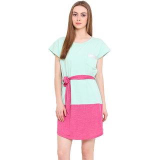 Blink Green Plain A Line Dress For Women